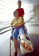Senior woman recovering in a hospital wheelchair