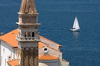 Campanile bell tower, Piran, Slovenia, Balkans, Europe