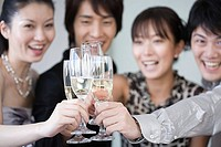 Friends having champagne (thumbnail)