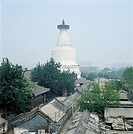 the folk houses and white pagoda in Beijing,China