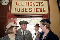 UK, England, North Yorkshire, Goathland, North Yorkshire Moors Railway, station, 1940's Weekend, passengers, World War II period clothing