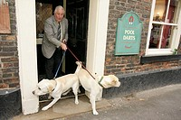 UK, England, Thirsk, Kirkgate, John Smith´s Cross Keys Bar, pub, dog, retriever, sign, pool darts, leash,
