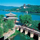 High angle shot of pavilion and garden of Summer Palace, Beijing