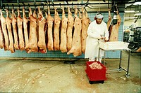 A butcher with hanging pork