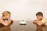 Woman and boy looking at salad bowl
