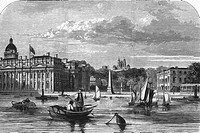 Greenwich buildings from the Thames. The Royal Naval College, Greenwich, is at left. On the river bank at centre is the Bellot memorial obelisk erecte...