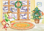 Illustration,Christmas,snowing