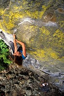 Climbing Ancient Heart, 5.11+, Rogues Gallery, Cheakamus Canyon, British Columbia, Canada.