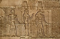 From left to right, reliefs depicting Sobek, the crocodile_headed god, and Hathor