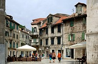 Group of people in a city, Split, Dalmatia, Croatia