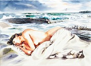 watercolor painting, Nude by Ryu Jin chul