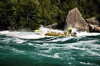 Whirlpool Jet Boat tour on Niagara River in Niagara Gorge, Niagara Falls, Ontario, Canada.