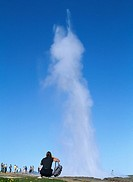 A geyser against the blue sky