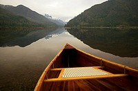 Cedar Strip Canoe on Mouchalat Lake, Gold River, Vancouver Island, British Columbia, Canada.