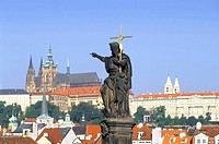 A statue on the Charles Bridge in Prague, Czech Republic