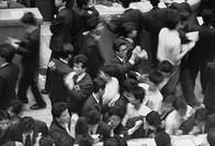Stock market workers in Tokyo, Japan