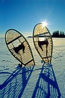 Snowshoes on a frozen northern lake, Canada.