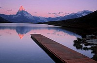 Matterhorn reflected in the lake Stelli, Zermatt, Valais, Alps, Switzerland