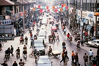 A bustling street scene on Nanjing Road in Shanghai, China.