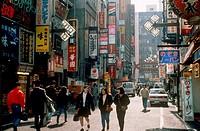 Street scene, Shinjuku district, Tokyo, Japan.