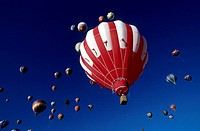 Low angle view of hot air balloons in the sky