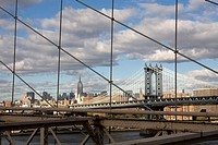 View of the Manhattan Bridge, taken from the Brooklyn Bridge.