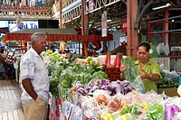 Fresh produce being sold at the municipal market in Papeete on the island of Tahiti.