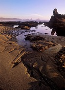 USA, ,Washington State, Olympic Peninsula National Park, sunset on Shi Shi Beach at low tide.