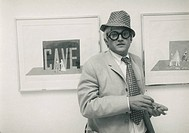 Painter David Hockney at the John Kasmin Gallery in 1966. The exhibit pictured here was entitled ´Drawings For Ubu Roi And Cavafy Etchings.´ Hockney d...