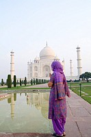 A Hindu woman visits the Taj Mahal, Agra, India.