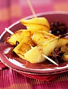 pineapple and pear brochettes with star anise
