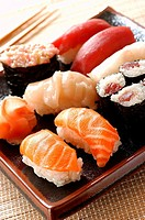Tray of sushi and maki (thumbnail)