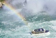 Maid of the Mist sails close to Niagara Falls, Ontario, Canada.