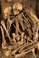 Grimaldi skeletons. Fossilized ´Grimaldi´ skeletons, human remains approximately 30,000 years old. These humans were originally thought to have produc...