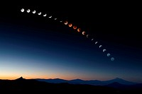 A composite image representing the path of the moon during the total lunar eclipse of August 28, 2007.