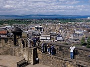 Edinburgh castle Edinburgh Scotland United Kingdom Clouds People Stairs City View Sea Mountain Bench Observatory