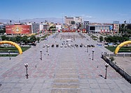 Taking a picture from Zhangye, Gansu, China, Asia, center Square Manjuji Kitou
