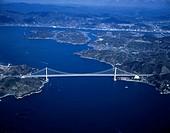 AERIAL Innoshima, Big bridge, Onomichi waterworks, Innoshima sky, Hiroshima, Japan
