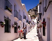 white wall, row of houses, Donkey, Mijas, Costa del Sol, Spain, May