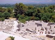 The ruins of Glanum Saint_Remy de, Provence France Ruins People Tree Stone
