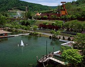 History village of coal Yubari Hokkaido Japan Fountain Ship Ferris wheel Tree Pond