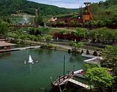 History village of coal Yubari Hokkaido Japan Fountain Ship Ferris wheel Tree Pond