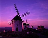 Windmill of evening, Consuegra, La Mancha, Spain, Setting sun, Windmill, road, February