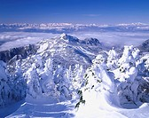 Silver frost A shade is a mountain. North Alps Shiga highland Nagano Japan Sky Mountain Snow Snow_covered mountain Snow_covered landscape Clouds