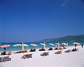 Patong Beach Phuket Thailand Sky Sea Horizon Mountain Sandy beach Parasol Deck chair People Resort