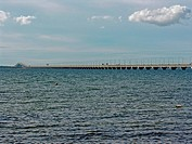 Panoramic view of bridge across sea, Kalmarsund, Oland, Sweden