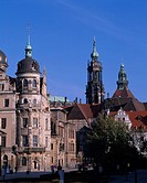 Tower of a palace and a church Dresden Germany Blue sky Building