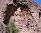 Stone_carving statue of Buddha, Rock Tourist People, Blue sky, Clouds, stone cave, Datong, Shanxi, China