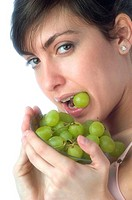 Woman, Brown Hair, Beauty, White undershit, Eating, Fruit, Grapes