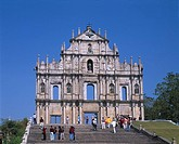 St. Paul cathedral mark Macau Sky Tree Stairs People Statue Cross